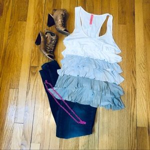 Tiered Ombré Tank Top - Two Tone